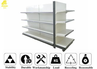 Rak Baja Supermarket Warna Putih Dengan Buckle Back Panel 80x30x2.0mm